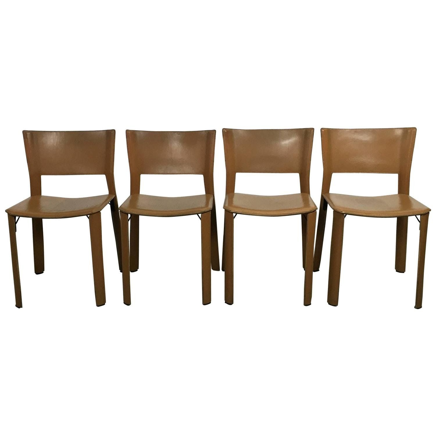 Set of Four Leather Giancarlo Vegni S91 Chairs for Fasem