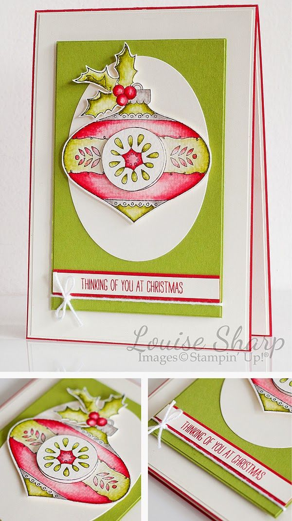 Stampin' Up! ... handmade Christmas card By Louise Sharp ... Christmas bauble ... luv the retro pink and green color scheme ...