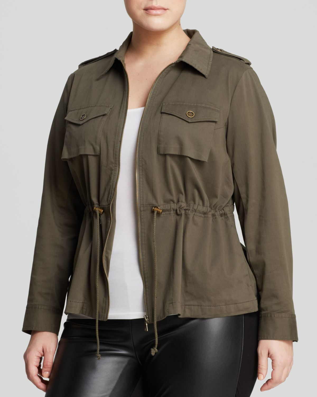 vince camuto plus size washed sateen cargo jacket | plus size