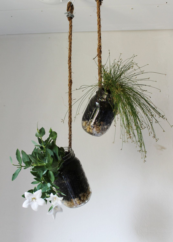 Set of 2 Hanging Mason Jar Planters
