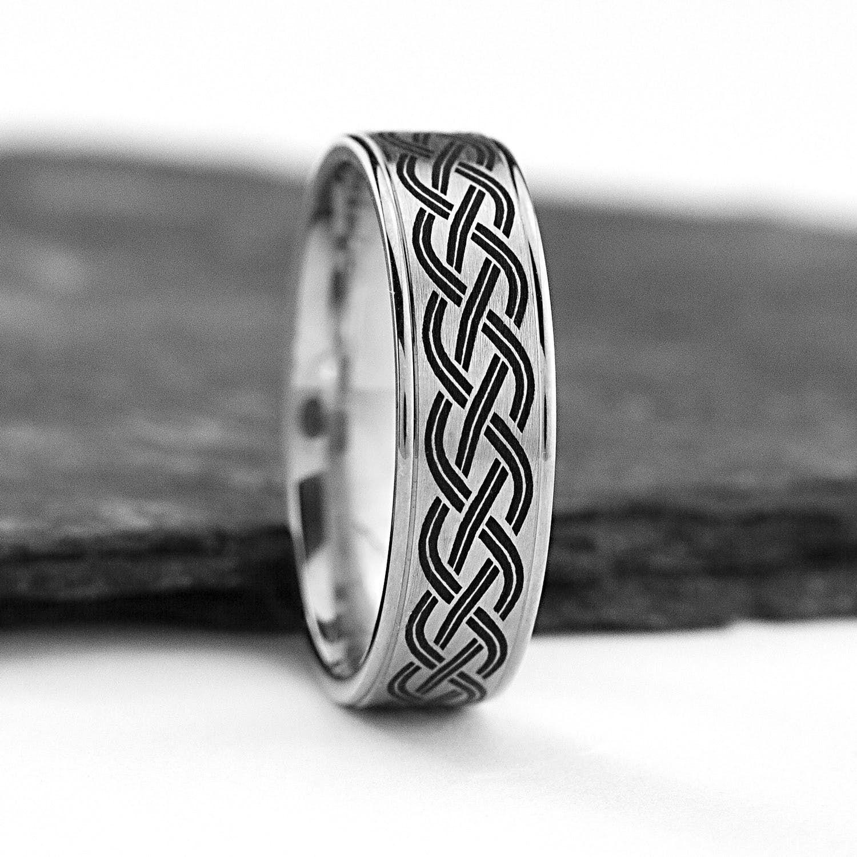 Celtic Weave Wedding Band With Black Enamel Celtic Wedding Rings