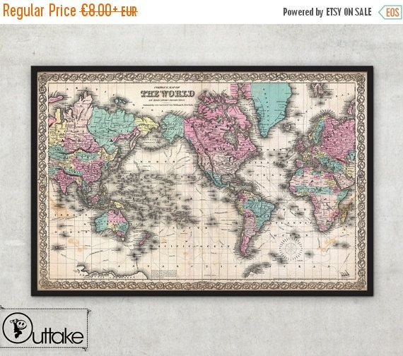 Black friday sale 15 off antique world wall map old world map black friday sale 15 off antique world wall map old world map 1855 gumiabroncs Gallery