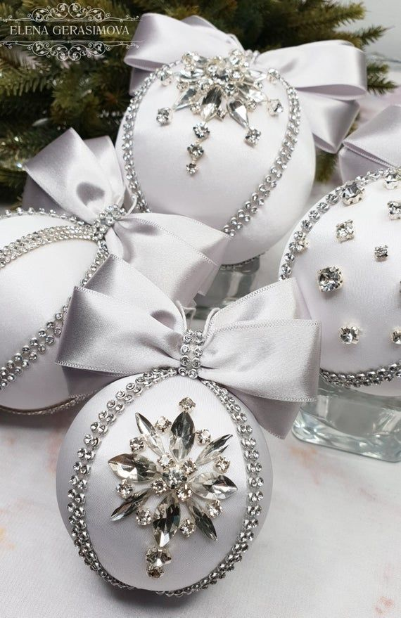 Christmas rhinestones ornaments, Handmade balls in gift box, Xmas decorations, Tree decor set, white baubles #xmasdecorations