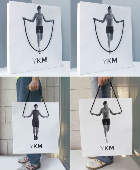 The handle gives a 3D effect to the bag. Consumers will do a double take because the impact is so effective yet not tacky and overwhelming. The white space in the back also allows the photo to stand out.