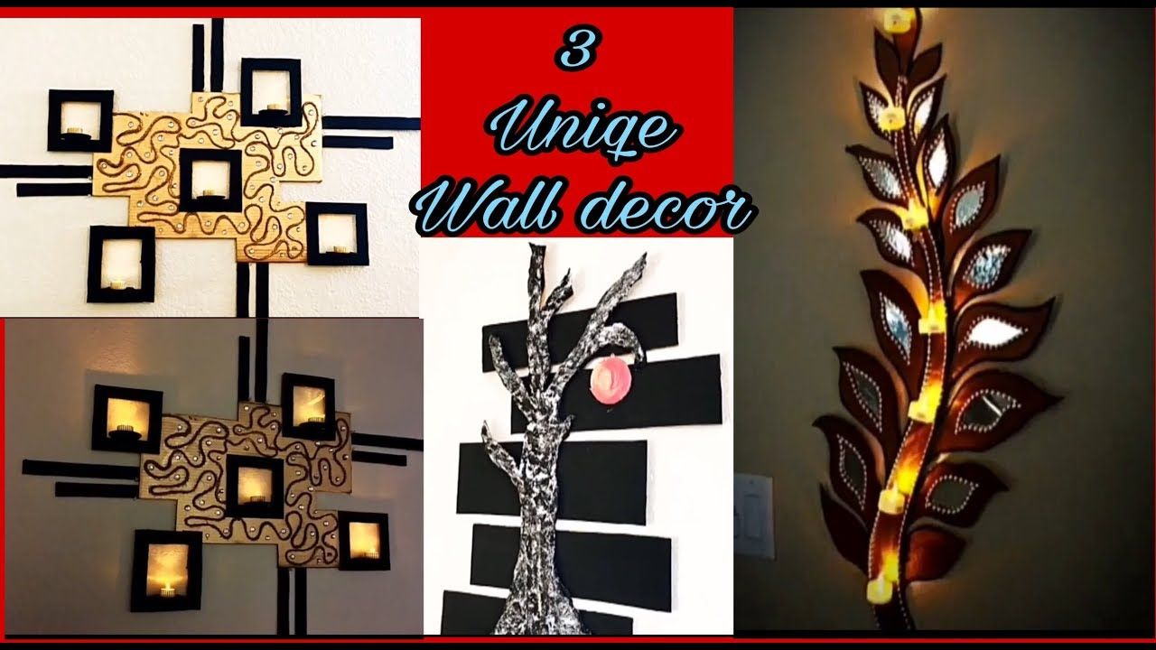 3 Wall Decoration Crafts Best Out Of Waste Handmade Decoration Things Wall Hanging Candle Holders Youtube Cardboard Crafts Decor Crafts Homemade Home Decor