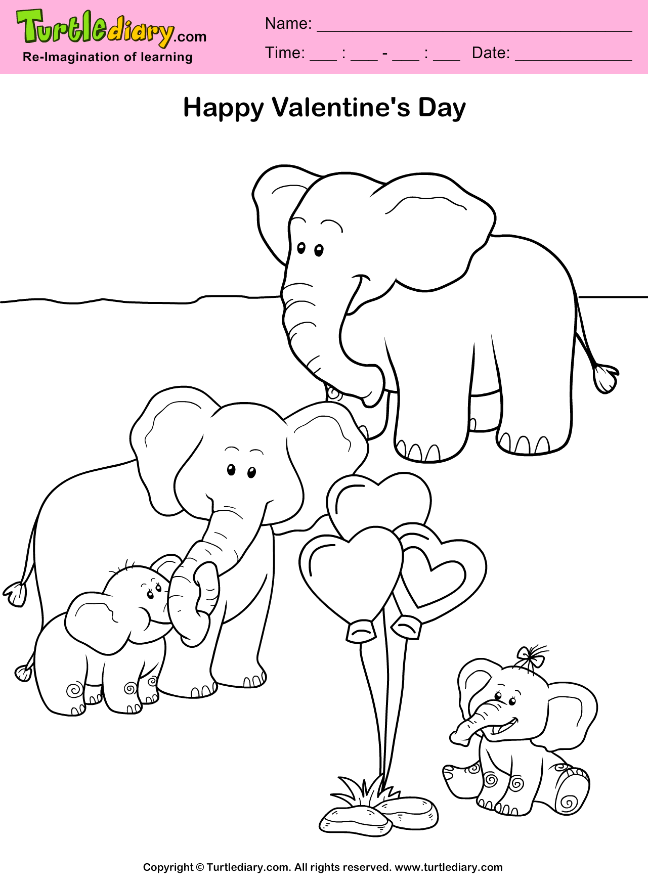 valentine's day elephant coloring page. #childeducation #
