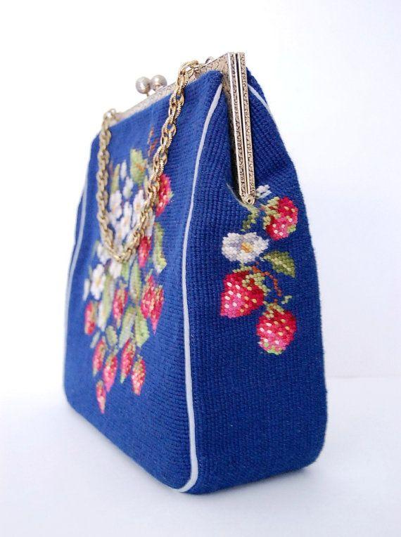 Vintage 1920 Strawberry Tapestry Handbag Cross Stitch