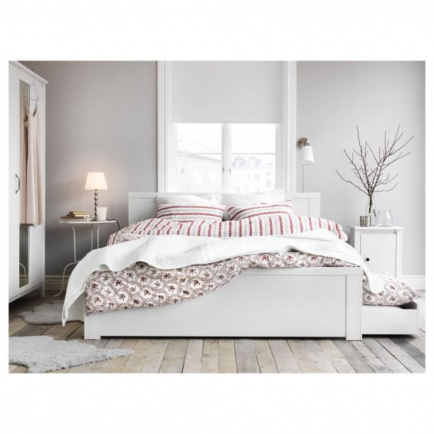 Double Bed Frame With Storage Drawers In 2020 White Bed Frame Ikea Bed Frames White Bedroom Furniture
