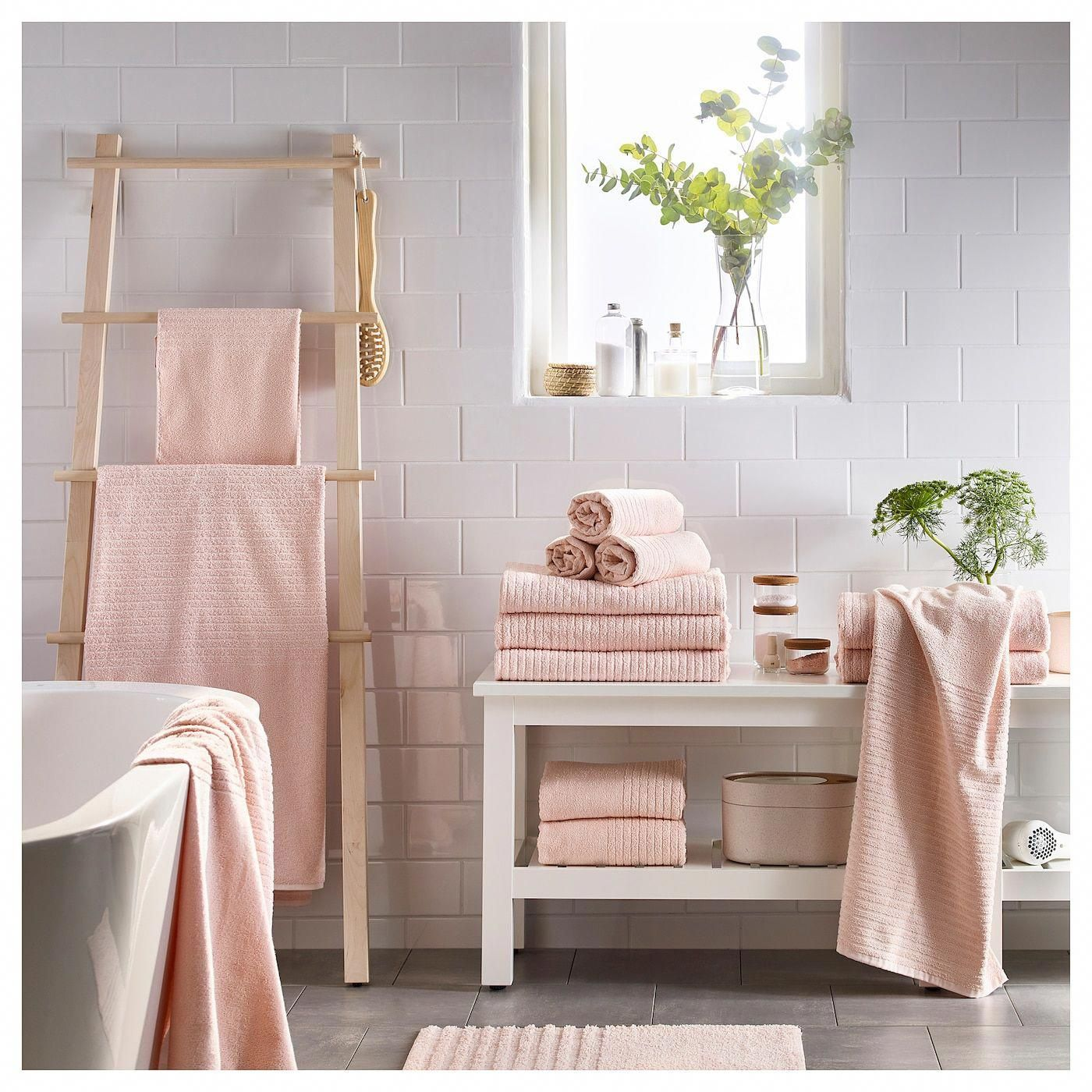 "Photo of VÅGSJÖN Bath towel – pale pink 28×55 """