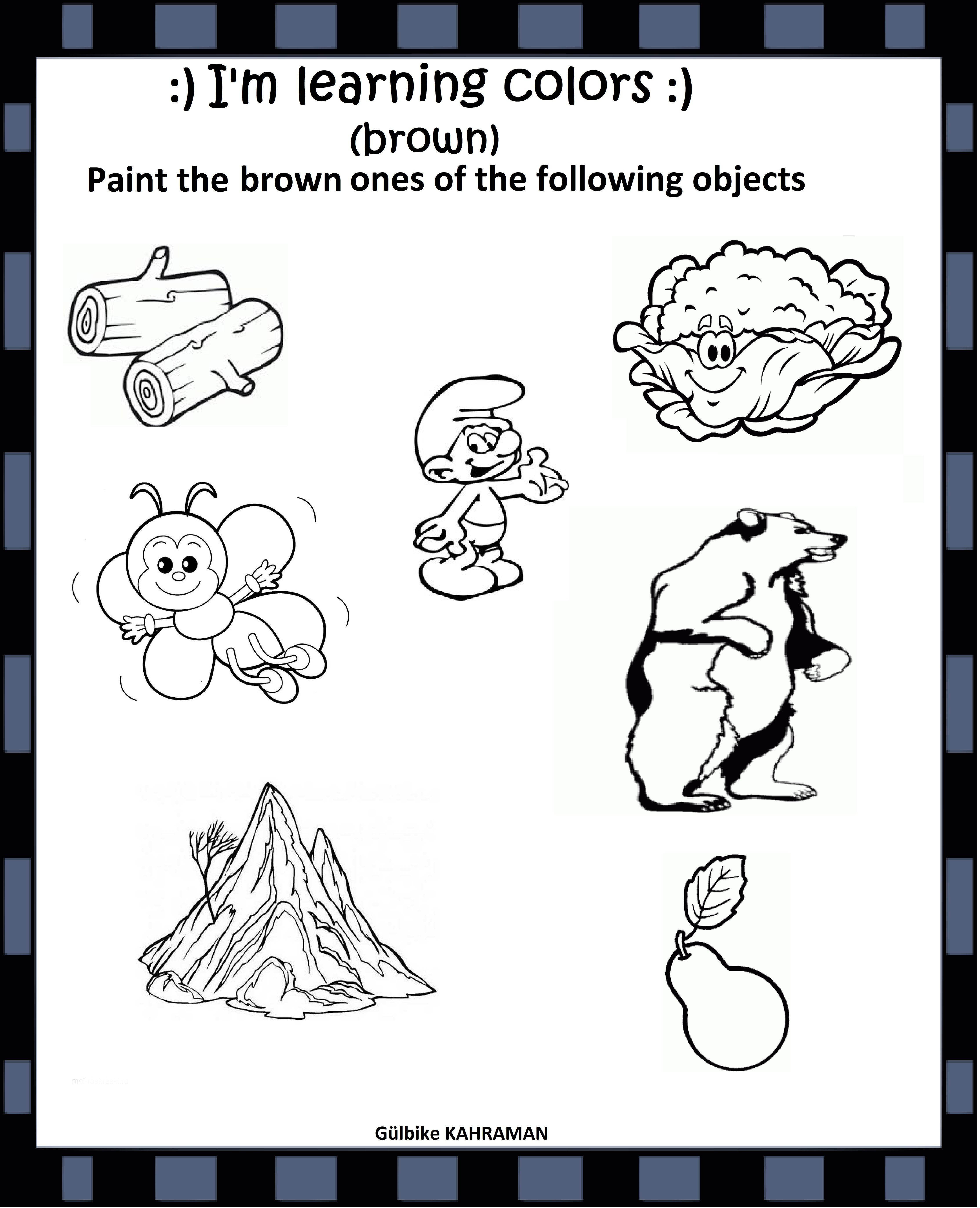 Kindergarten Worksheets Color Brown