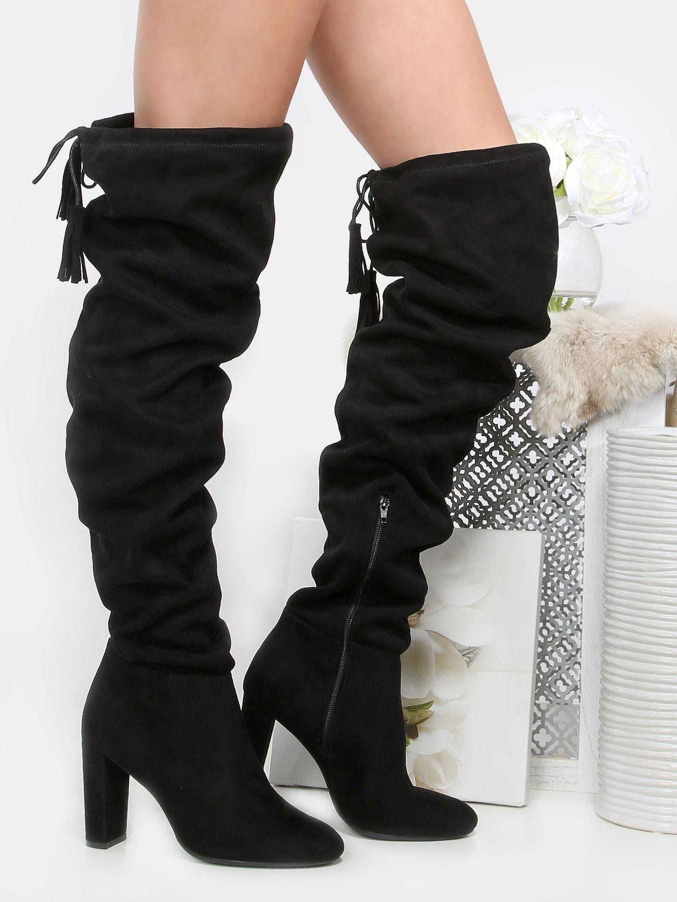 835adb3f7f Tassel Tie Thigh High Boots BLACK -SheIn(Sheinside) | Accessory ...