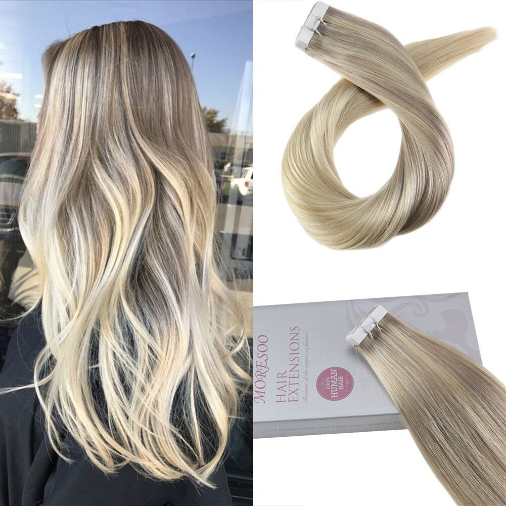 Moresoo 18 Tape In Remy Hair Extensions Blonde Skin Weft Human Hair