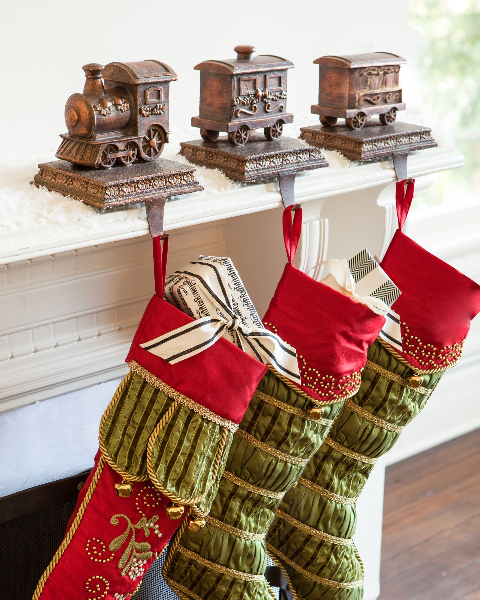 Train Stocking Holder Balsam Hill Stocking Holders Christmas Stocking Holders Stocking Holders For Mantle
