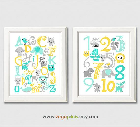 Aqua and yellow animal Alphabet and numbers art by VegaPrints