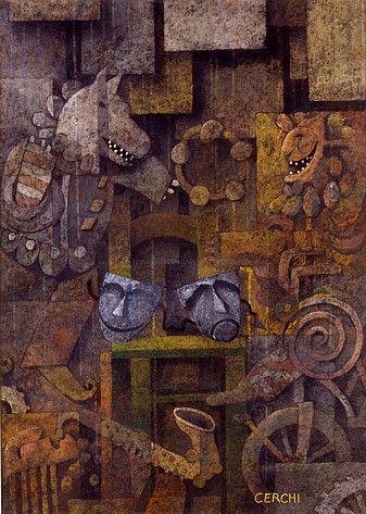 "Galleria scorrevole. Sergio Cerchi, italian painter ( Firenze), ""Dark Masks"", gouache."