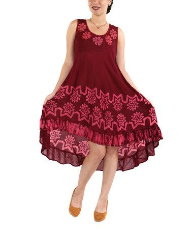 Love this Burgundy Floral Ruffle-Hem Shift Dress - Plus on #zulily! #zulilyfinds