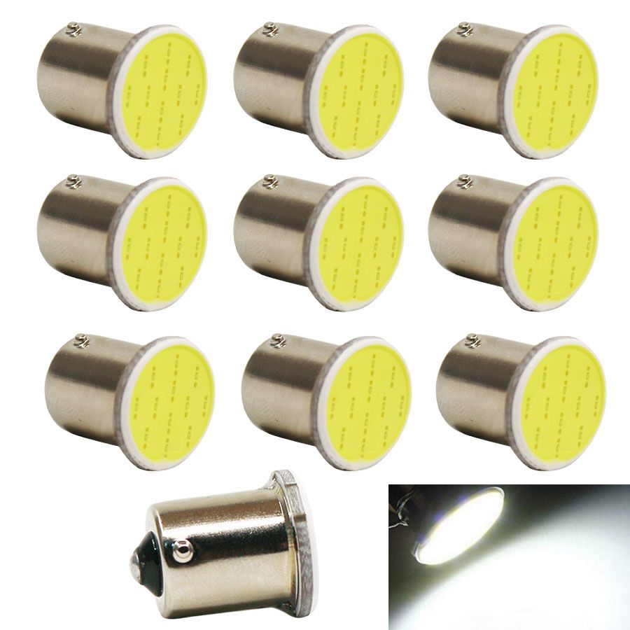 Super Bright 10pcs White Cob P21w Led 1156 Ba15s Dc12v Bulbs Car Styling External Lights Auto Car Parking Brake Fog Light Lamps Price 9 Lichter Led Lampen