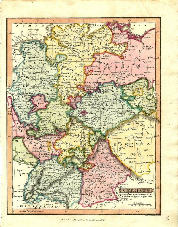 Germany 1823 Colourful Map Showing The Lower Saxony Brandenburg