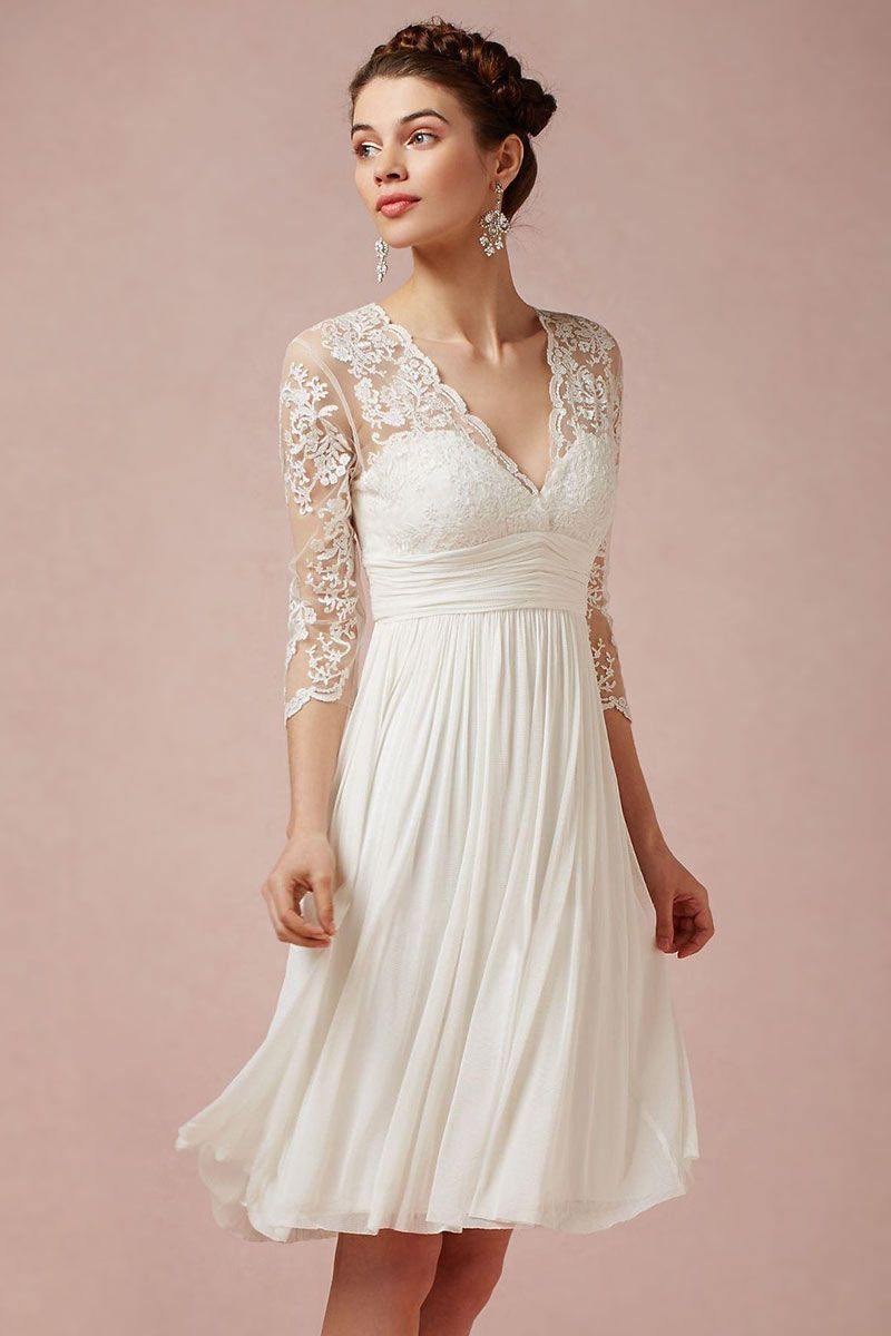 Dressesmall Modern Ivory V Neck A Line Short Lace Wedding Dress With Sleeves