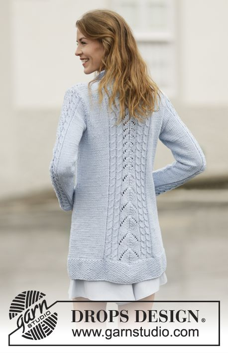 """Knitted DROPS jacket with lace pattern, cables and collar in """"Paris ..."""