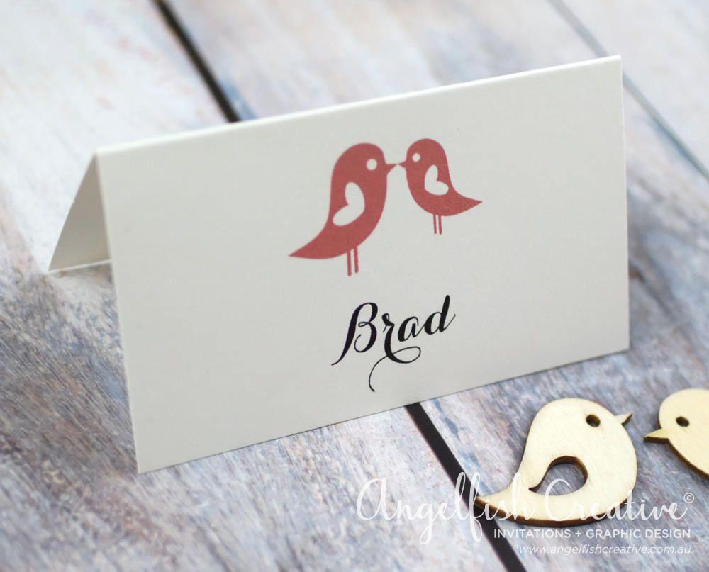 Placecard namecard - Love Bird printed folding card ...