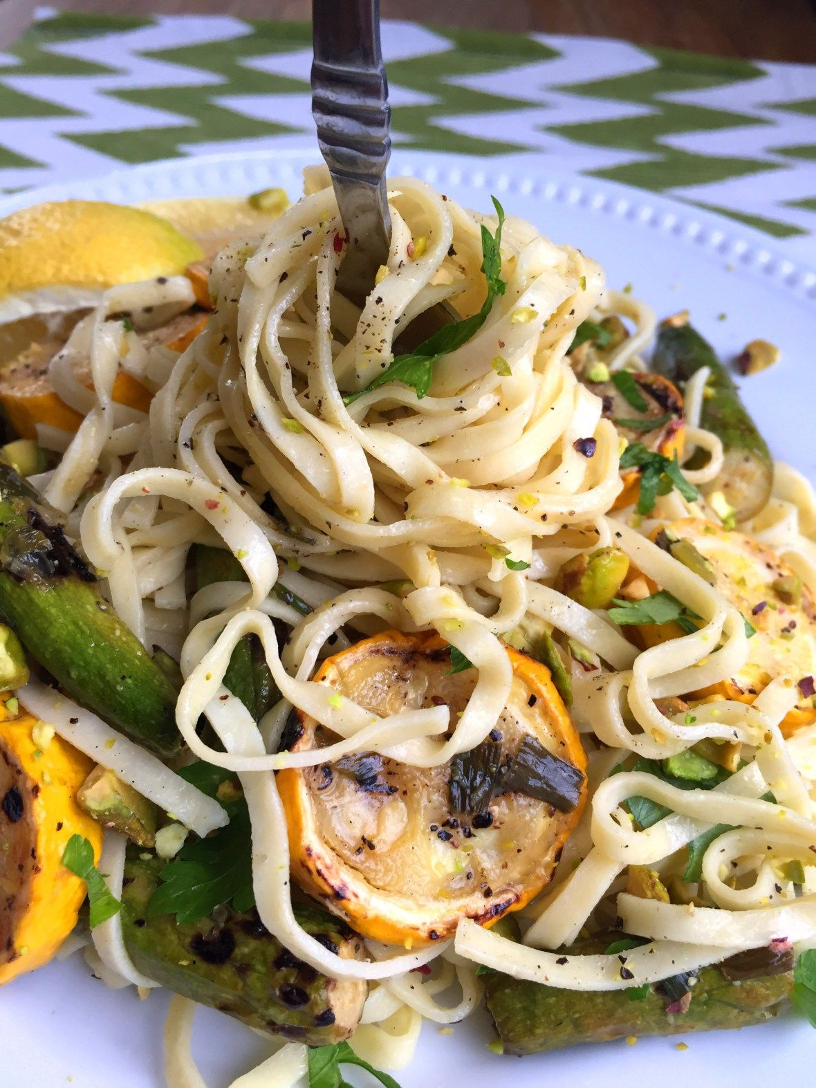 Vegan Pasta with Grilled Baby & Yellow Zucchini, Lemon & Pistachios
