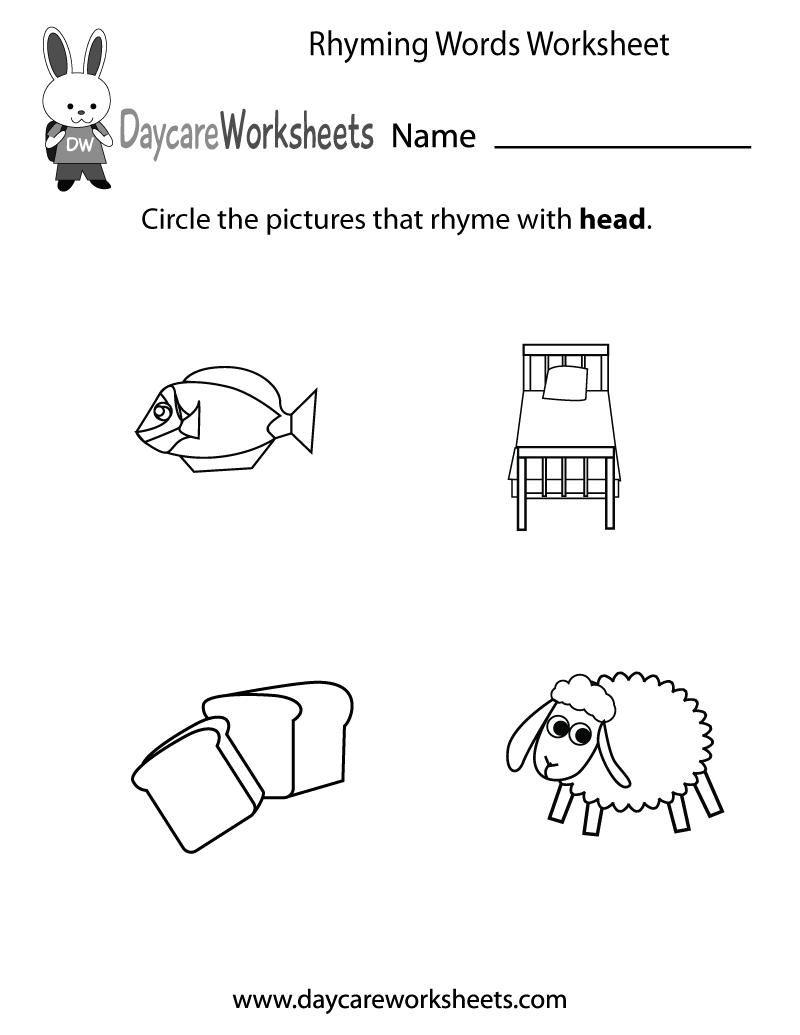 8 Printable Rhyming Worksheets For Preschoolers [ 1035 x 800 Pixel ]