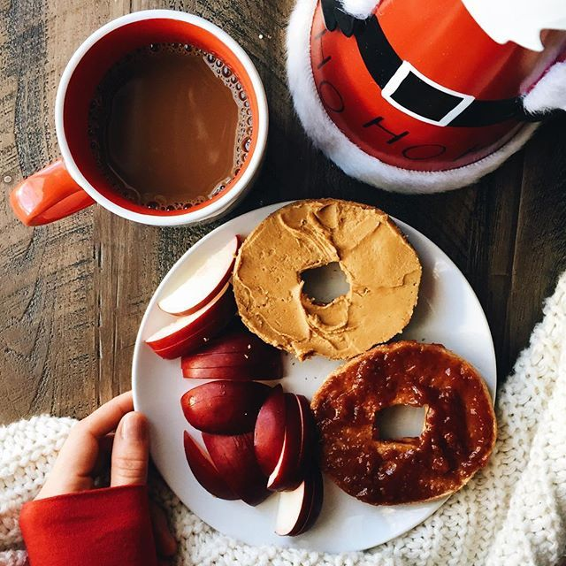 Pb J On A Whole Wheat Bagel With An Apple And Coffee Also On