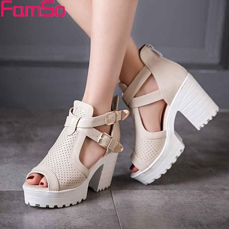 FAMSO Size34-43 2017 New Arrival Women pumps Shoes  Buckle Platforms Shoes Gladiator Sandals shoes Summer Sandals  PS2846