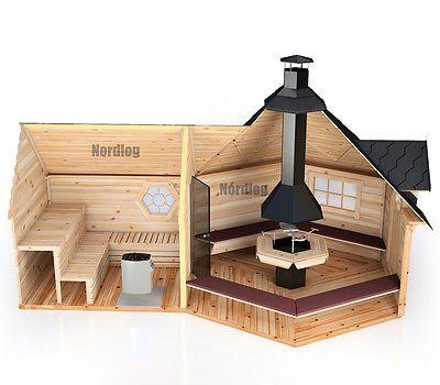 Nordlog Grillkota 9 2m2 Mit Verlangter Saunaanbau Grillhaus