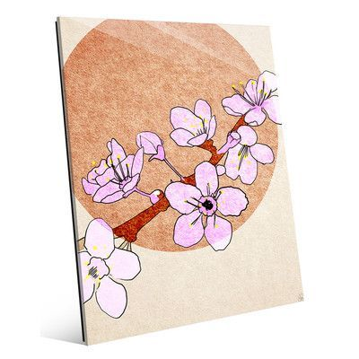 "Click Wall Art 'Shining Cherry Blossoms' Painting Print Size: 14"" H x 11"" W x 1"" D"