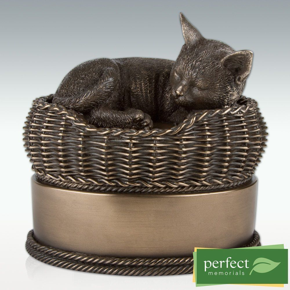 Pet Urn Cat In Basket Cremation Cold Cast Resin Casket Jar Memorial Box Ashes Pet Cremation Urns Pet Urns Pet Cremation