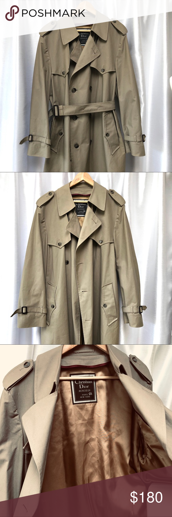 baca4cad Christian Dior 42R Mens Beige Long trench coat Approx Measurements ...