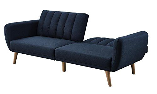 Futon Sofa Bed Features Tufted Navy Blue Linen Curved Armrests Slanted Oak Wooden Legs With A Stylish Modern Mid Bedroom Furniture Futon Sofa Futon Sofa Bed