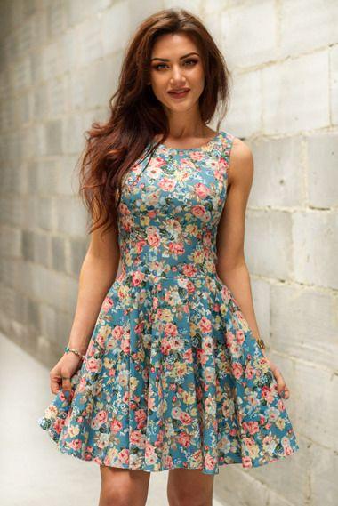 Rozkloszowana Sukienka Mini W Kwiaty Sklep Internetowy Vubu Pl Dresses Graduation Dress Summer Dresses