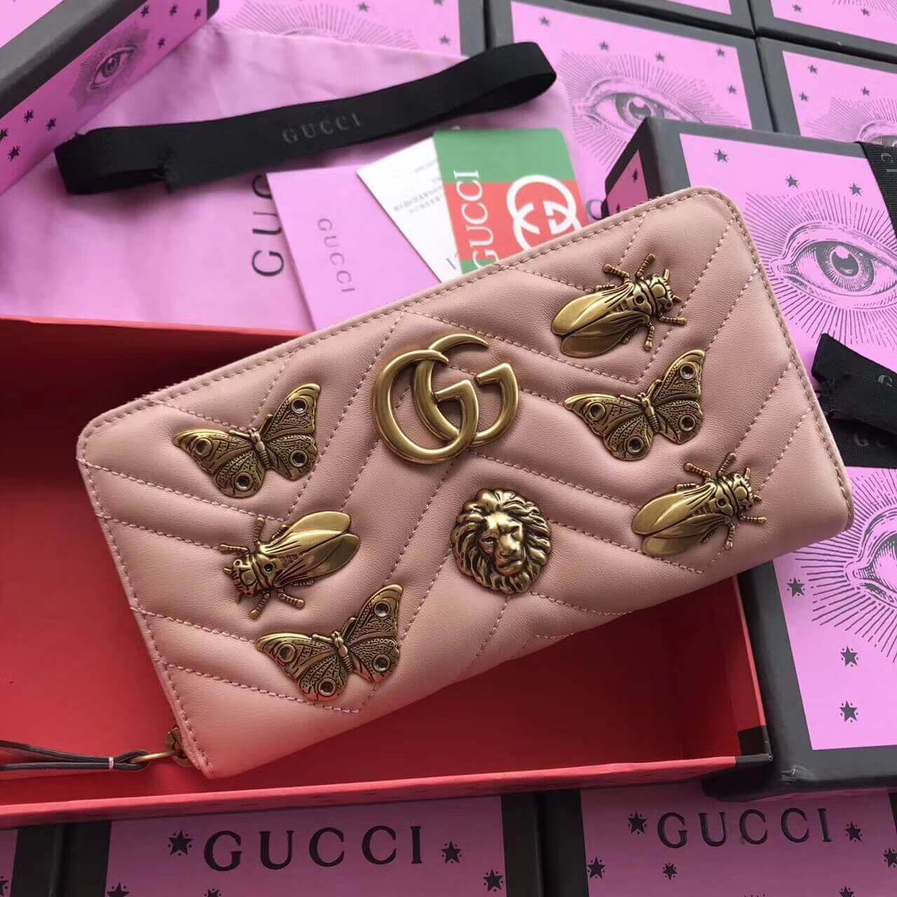 e172d66a377c Gucci GG Marmont Animal Studs Leather Zip Around Wallet 443123 Pink 2017