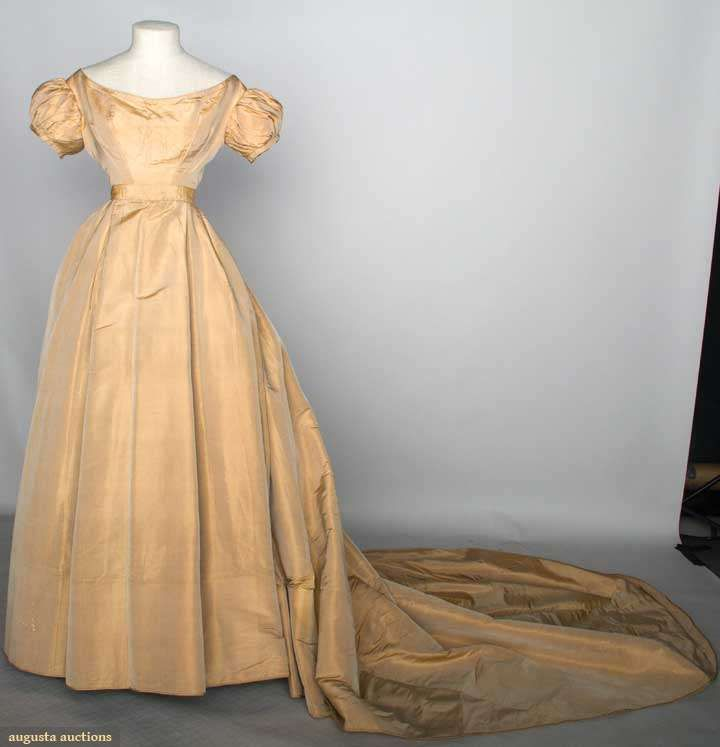 Beige silk wedding gown c 1860 1 piece empire bodice for Beige short wedding dresses