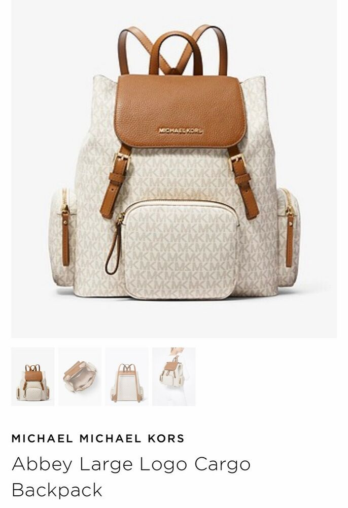65e586a1402058 NWT MICHAEL KORS ABBEY LARGE CARGO BACKPACK VANILLA/ACR MK SIGNATURE PVC  LEATHER #fashion #clothing #shoes #accessories #womensbagshandbags (ebay  link)