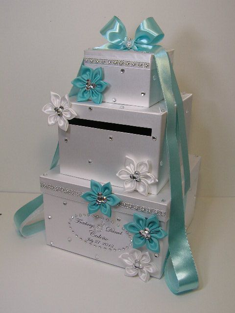 Wedding Card Box Blue and White Gift Card Box Money Box Holder