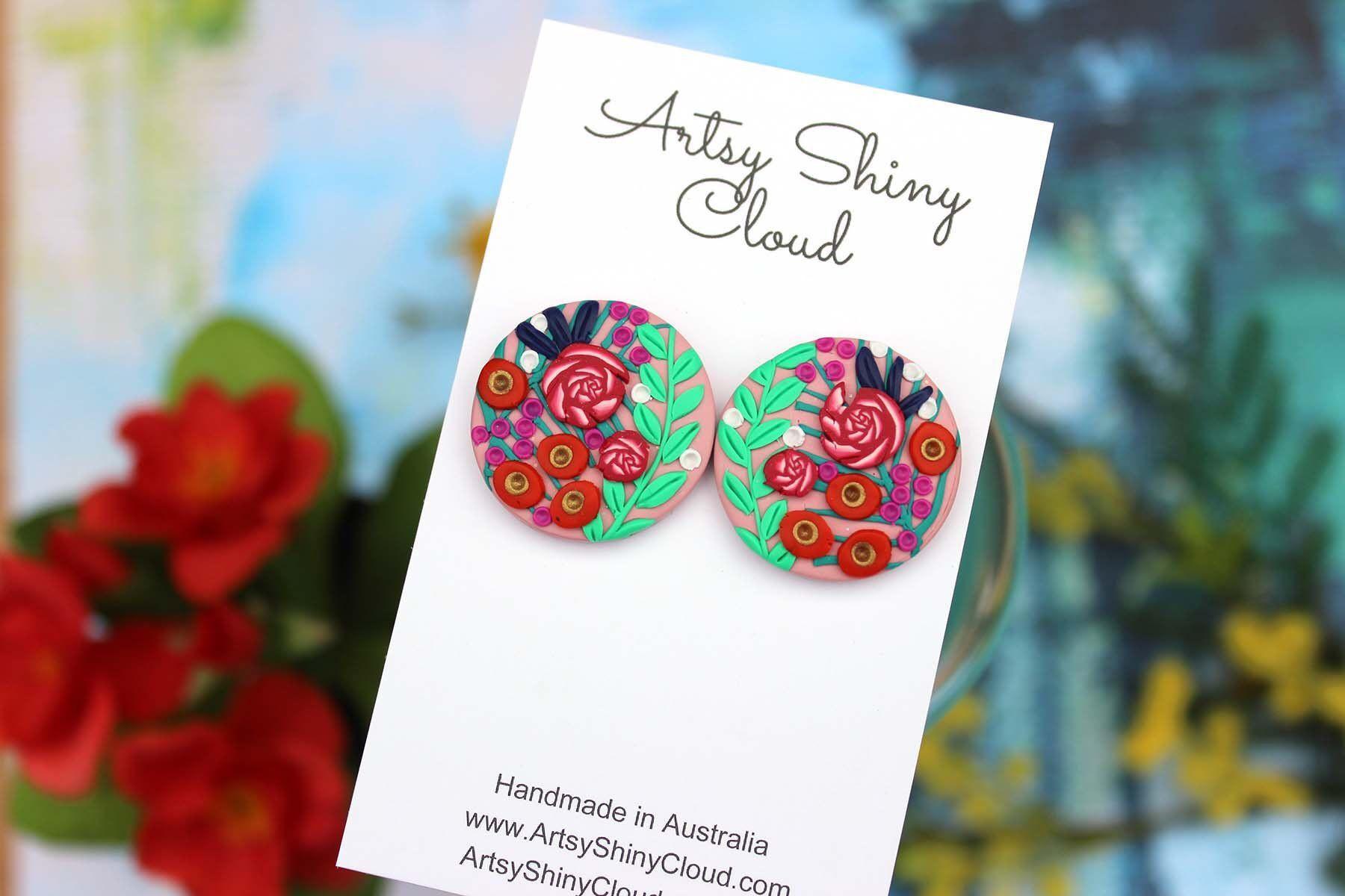 Floral stud earrings polymer clay earrings botanical