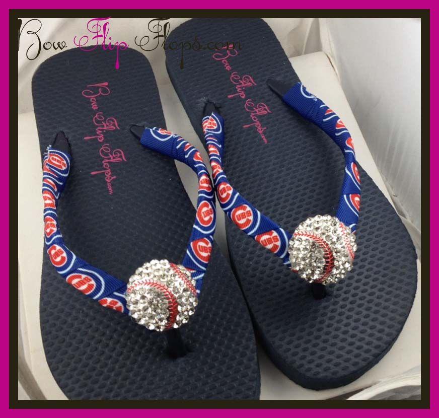 Bling Flip Flip Flops With Chicago Cubs Ribbon Baseball Flip Flops Cute Flip Flops Flip Flops Style