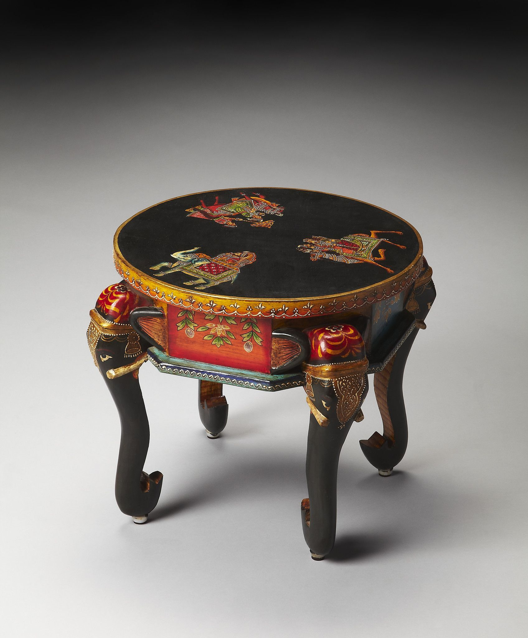 Artifacts kerala hand painted elephant accent table with