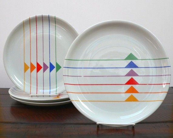 Four Block China Sextet dinner plates from Harmony Vista Alegre Portugal designed by Gerald Gulotta Jack & Four Block China Sextet dinner plates from Harmony Vista Alegre ...