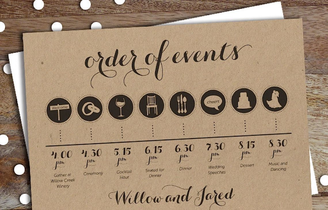 Plan your wedding reception timeline using this sample format along ...