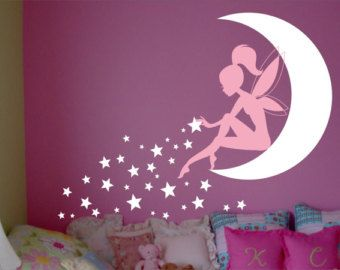 Girls Room Wall Decor fairy wall decal, fairy sitting on moon sticker, fairy with pixie