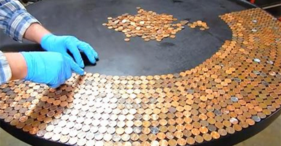 This DIY Penny Table almost makes too much cents!