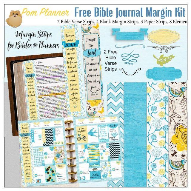 Free Bible journaling margin kit with two free Bible verse