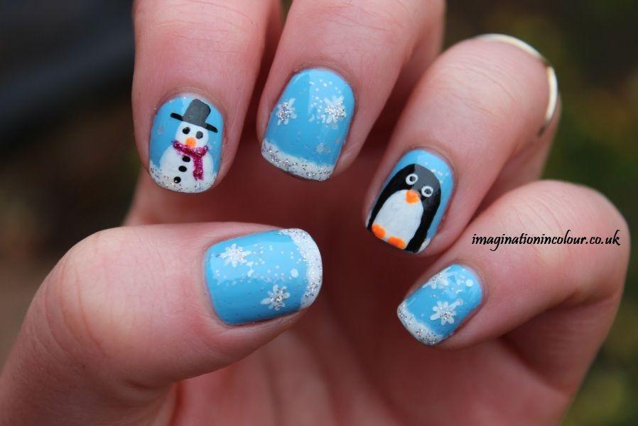 Penguin Snowman Nail Art Christmas Nail Polish Snow Nails And