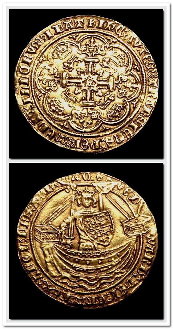 English Gold Noble King Edward Iii London Mint C 1369