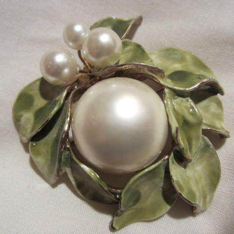 Gorgeous & Most Unusual Enamel & Pearl Pin http://www.rubylane.com/ni/info/itemsmodify?1390052902